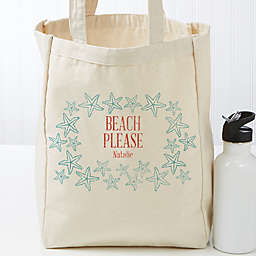 Coastal Home Personalized 14-Inch x 10-Inch Beach Canvas Tote Bag
