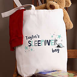Boys Sleepover Personalized 14-Inch x 10-Inch Canvas Tote Bag
