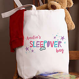 Girls Sleepover Personalized 14-Inch x 10-Inch Canvas Tote Bag