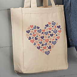 Heart Of Hearts Personalized 14-Inch x 10-Inch Canvas Tote Bag