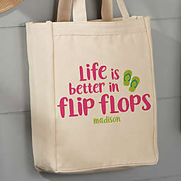 Flip Flops Personalized 14-Inch x 10-Inch Canvas Tote Bag