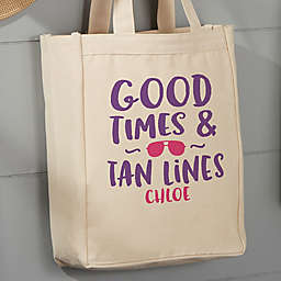 Good Times Personalized 14-Inch x 10-Inch Canvas Tote Bag
