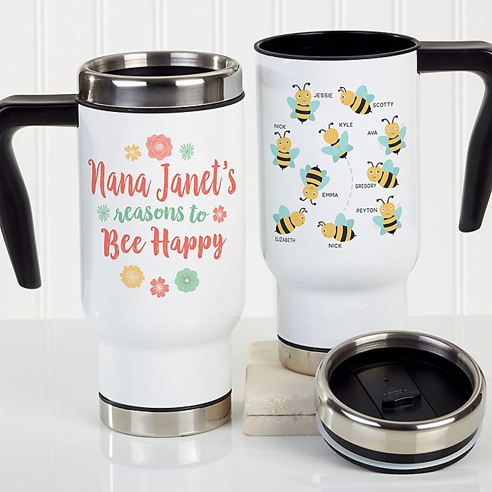 Alternate image 1 for Bee Happy Personalized Commuter Travel Mug