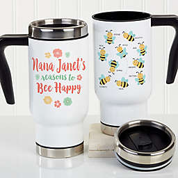 Bee Happy Personalized Commuter Travel Mug