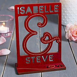 You & I Personalized Wood Cutout Keepsake in Red