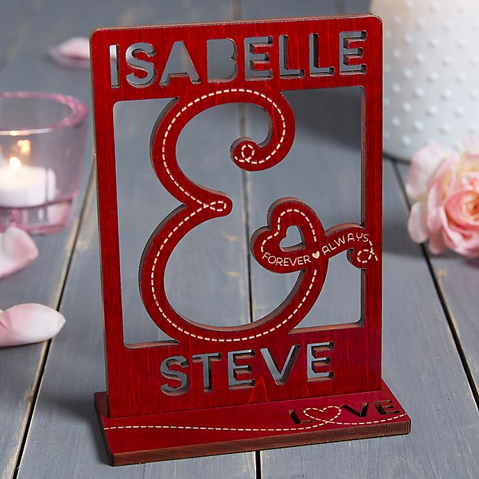 Alternate image 1 for You & I Personalized Wood Cutout Keepsake in Red