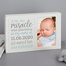 Baby Boy's Story Personalized Whitewashed Off-Set Frame