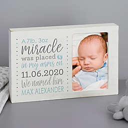 Baby Boy's Story Personalized Whitewashed Off-Set Frame