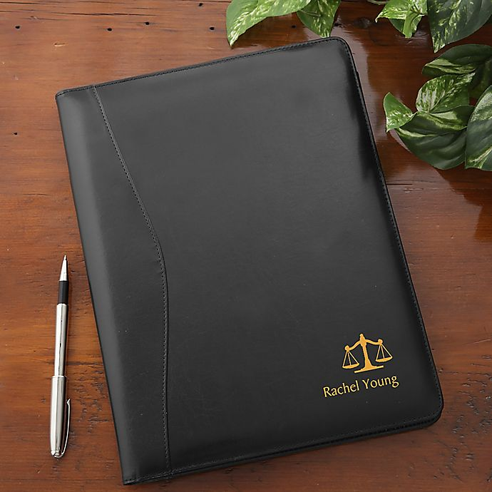 Alternate image 1 for Legal Notes Personalized Leather Portfolio in Black