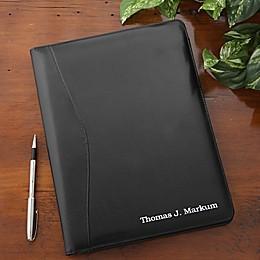 Executive Personalized Leather Portfolio in Black