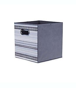 Contenedor de cartón plegable Relaxed Living a rayas de 27.94 cm color gris oscuro