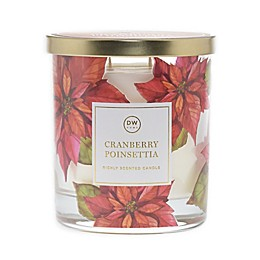 DW Home Cranberry Poinsettia Jar Candle in Red/Gold