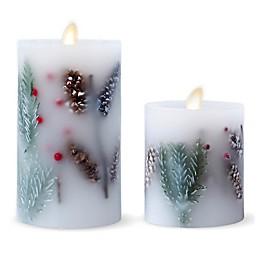 Luminara® Fir Berry Real-Flame Effect Pillar Candle