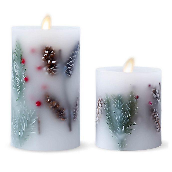 Alternate image 1 for Luminara® Fir Berry Real-Flame Effect Pillar Candle