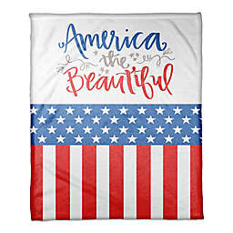 """Designs Direct """"America the Beautiful"""" Throw Blanket in Red"""