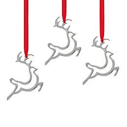 Nambe Mini Reindeer Ornaments in Silver (Set of 3)