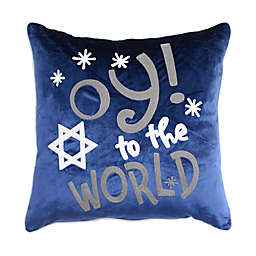 Oy! To The World Embroidered Hanukkah Square Throw Pillow in Blue