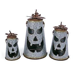 Gerson International Nesting Metal Pumpkin Lanterns in Grey (Set of 3)