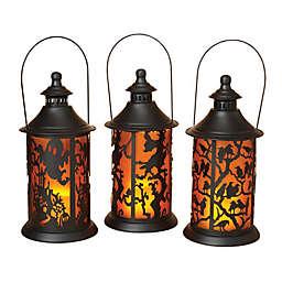 Gerson International Halloween LED Lanterns in Black (Set of 3)