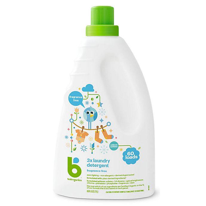 Alternate image 1 for Babyganics® 60 oz. Fragrance-Free 3x Laundry Detergent