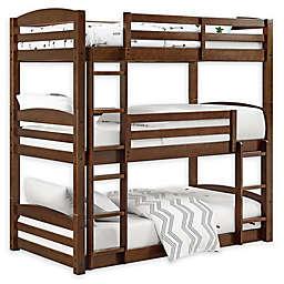 Dorel Living Maverick Wooden Triple Bunk Bed in Mocha