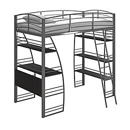 Lynn Twin Metal Loft Bed in Silver
