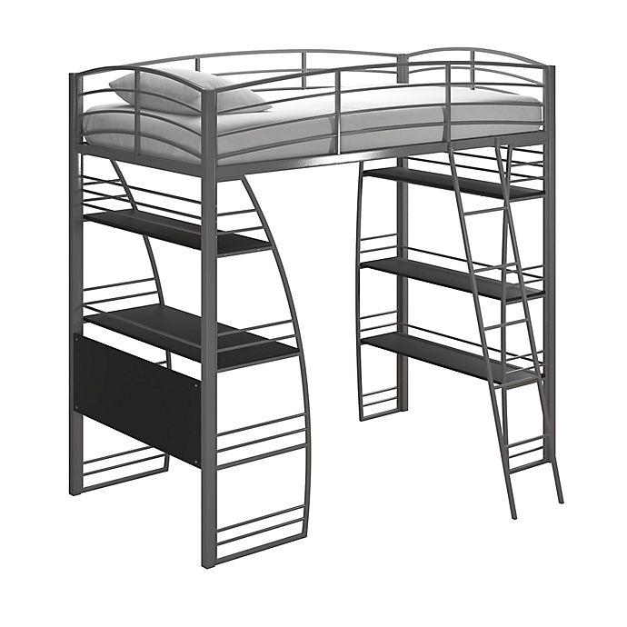Alternate image 1 for Lynn Twin Metal Loft Bed in Silver
