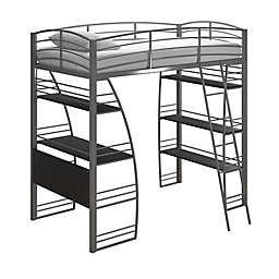 Lynn Twin Metal Loft Bed in Silver
