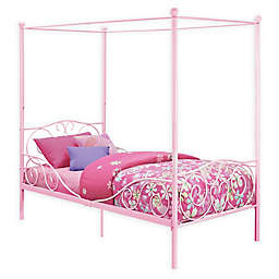 Atwater Living Whimsical Twin Metal Canopy Bed in Pink