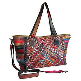 Amerileather Cecily Woven Tote Bag in Rainbow