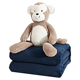 Therapedic® 6 lb. Kids Weighted Blanket with Monkey Plush Toy in Navy