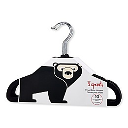 3 Sprouts 10-Pack Bear Flocked Children's Hangers in Black