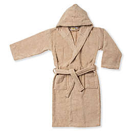 Kids Small/Medium Cotton Hooded Bathrobe in Taupe