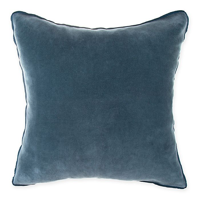 Alternate image 1 for O&O by Olivia & Oliver™ Velvet Square Throw Pillow in Turquoise/Flax