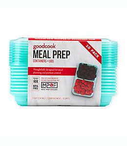 Contenedores para alimentos de plástico GoodCook de 1 tz color azul claro, Set de 10 pzas.