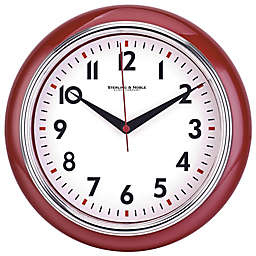 Sterling & Noble Retro Diner Wall Clock in Red
