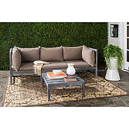 Safavieh Lynwood Outdoor Modular Sectional and Coffee Table Set in Ash Grey/Taupe