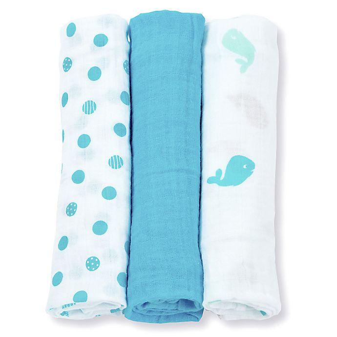 Alternate image 1 for Lulujo Baby Mini Muslin 3-Pack Blanket Set in Blue/White