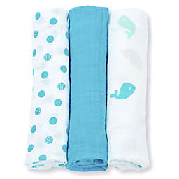 Lulujo Baby Mini Muslin 3-Pack Blanket Set in Blue/White