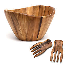 Lipper International Acacia Wave Bowl With Salad Hands