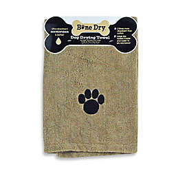 Embroidered Paw Microfiber Pet Bath Towel in Tan