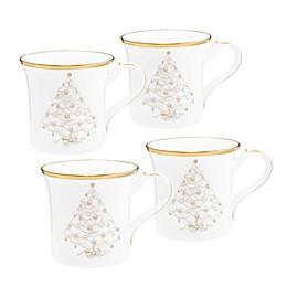 Noritake® Palace Christmas 12 oz. Holiday Coffee Mugs in Gold/ White (Set of 4)
