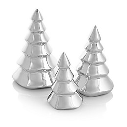 Nambe Mini Christmas Tree Figurines in Silver (Set of 3)