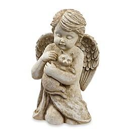 Cherub Holding Cat Statuette