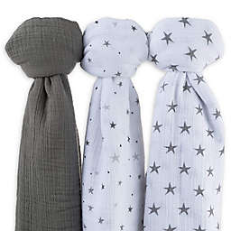 Ely's & Co.® 3-Pack Cotton Muslin Star Print Swaddle Blankets
