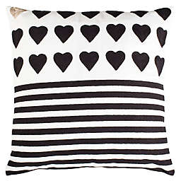 Safavieh Striped Heart Square Throw Pillow in Black/White