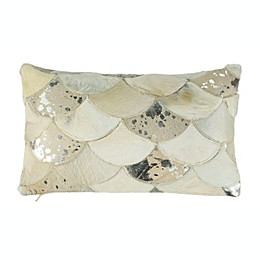 Safavieh Metallic Scale Cowhide Oblong Throw Pillow in White/Silver