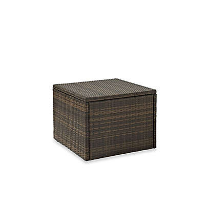 Crosley Palm Harbor Collection Outdoor Wicker Coffee Sectional Table in Brown