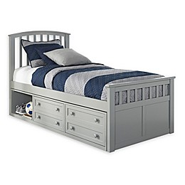 Hillsdale Furniture Charlie Captain's Bed with 2 Drawers in Grey