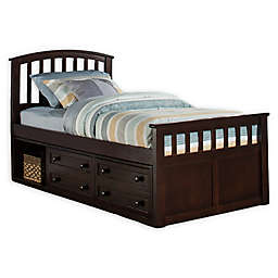 Hillsdale Furniture Charlie Captain's Bed with 2 Drawers in Chocolate